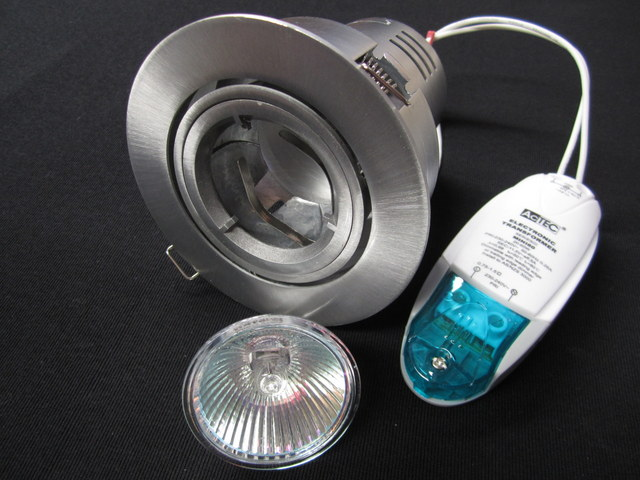 12V LV 50W Down Light Kit Gymble, can, S/Silver